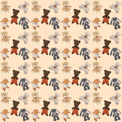 A light background with teddy bears, a hare and a lamb,