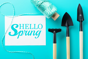 Hello spring paper and gardening tools