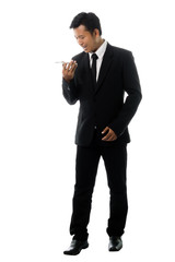 Portrait of a business man with smart phone. Isolated on white background