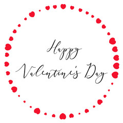 Happy Valentine's day lettering with circle of red hearts on white background.