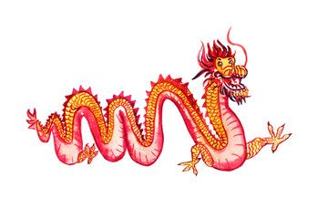 Chinese long yellow and red dragon, isolated on white