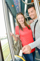 Couple riding the tram
