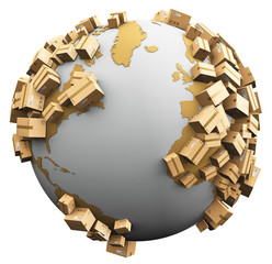 Worldwide shipping, recycling and environmental damage concept