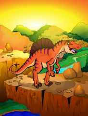 Cute cartoon spinosaur with landscape background. Vector illustration of a cartoon dinosaur.