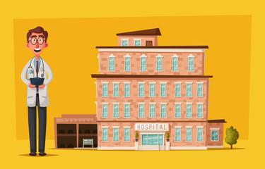 Modern hospital. medical services. Facade of clinic. Cartoon vector illustration