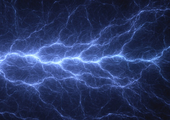 Blue plasma lightning, power and electrical background