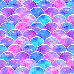Bright scales shapes abstract grunge colorful splashes texture watercolor seamless pattern design in pink and blue colors palette