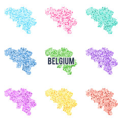 Vector dotted colourful map of Belgium.