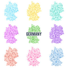 Vector dotted colourful map of Germany.