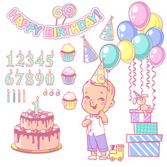Birthday party decoration set. Cake and cupcakes constructor with set of numbers, candles, gifts, garland,air balloons. Design elements. Toddler boy wearing bow tie. Vector illustration.