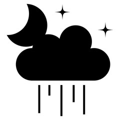 weather cloud rainy with moon