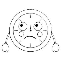 kawaii round clock time cartoon character vector illustration outline design sketch design