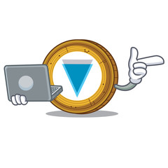 With laptop Verge coin character cartoon