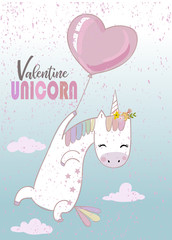 Cute unicorn with balloon
