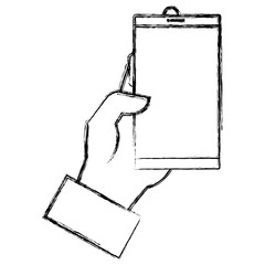 hand with smartphone device