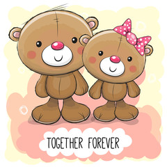 Cute Cartoon Teddy Bear boy and girl