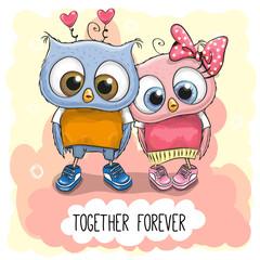 Cute Cartoon Owls boy and girl