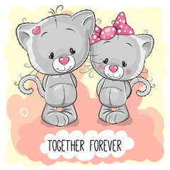Cute Cartoon Kittens boy and girl