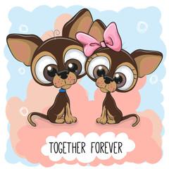Cute Cartoon Puppies boy and girl