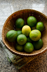 Group of limes in basket