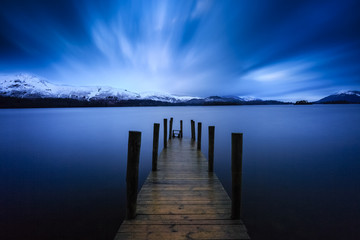 Long exposure of Ashness Jetty on Derwentwater, The Lake District, Cumbria, England Fototapete