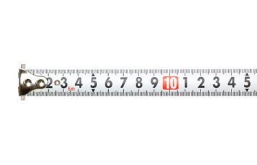 Measuring tape on white background. Closeup