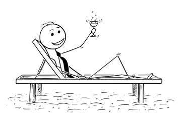 Cartoon stick man drawing conceptual illustration of successful businessman relaxing on the beach bed with glass of drink. Concept of business success.