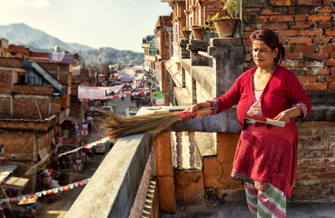 Cleaning the Balcony, Nepal
