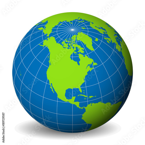Earth globe with green world map and blue seas and oceans focused earth globe with green world map and blue seas and oceans focused on north america gumiabroncs Image collections