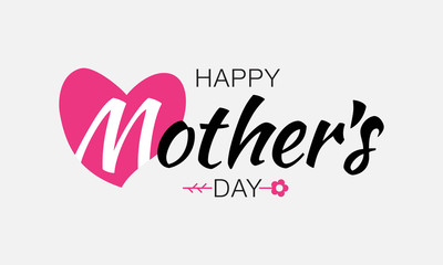 Mother's Day Typographic Lettering isolated on gray Background With Pink Heart and Flower Illustration of a Mothers Day Card. Vector illustration.