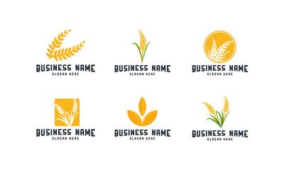 Set of Wheat Iconic Logo designs template vector, Wheat Farm logo template