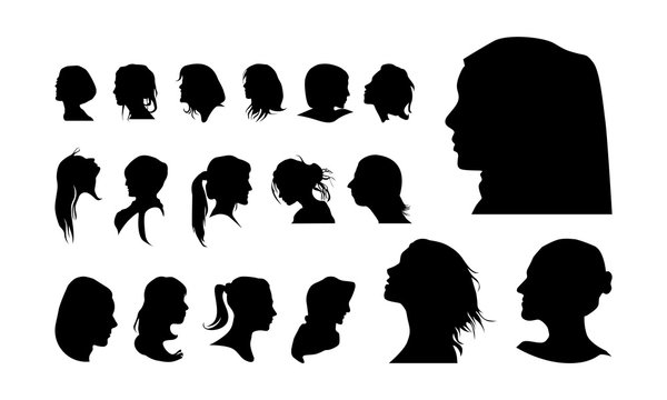 set of detailed Girl head avatar face silhouette vector illustration