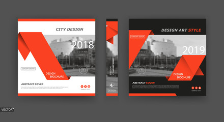 Design for business brochure cover, info banner frame, title sheet model set, techno flyer mockup or ad text font. Modern vector front page art with urban city street texture. Red triangle figure icon