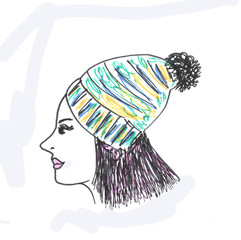 Hand drawn illustration of hipster girl in cap.