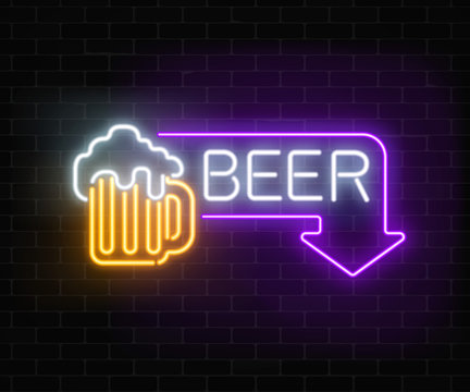Glowing neon beer pub signboard in rectangle frame with arrow on dark brick wall background.