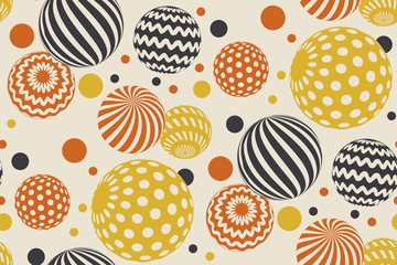 Geometric circle seamless pattern vector illustration in retro 60s style. Vintage 1970s ball geometry shapes abstract repeatable motif for carpet, wrapping paper, fabric, background.