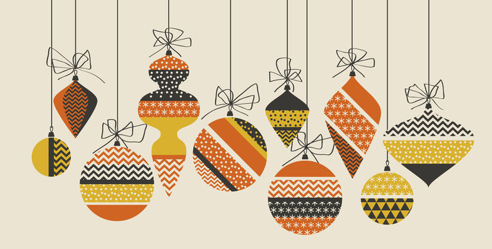 Geometric xmas bauble pattern vector illustration in retro 60s style. Vintage 1970s Christmas balls abstract motif in hot orange and yellow colors fo invitation, header, poster, cover. .