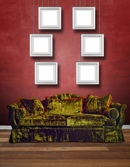 Luxurious green velvet sofa with textured red wall