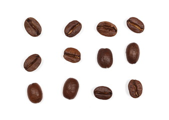 Coffee beans pile, set and collection isolated on white background and texture, top view