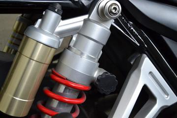 Close up of motorbike suspension