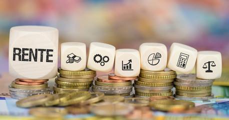 Rente / Münzenstapel mit Symbole