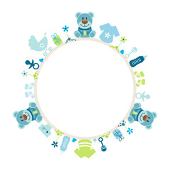 Blue Teddy Baby Symbols Boy Frame