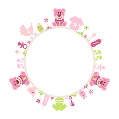Rose Teddy Baby Symbols Girl Frame