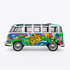3D render hippie bus on white background