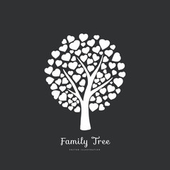 Love tree with heart shaped leaf. Nature. Vector monochrome silhouette illustration. Black and white color.