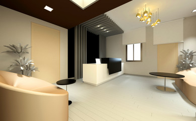 3d render of office lobby entrance