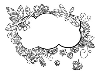 Floral frame in doodle style.