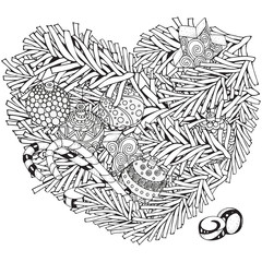 Heart shaped pattern with Christmas tree branches and balls. Coloring book page for adult. Black and white. Zentangle, doodle style.