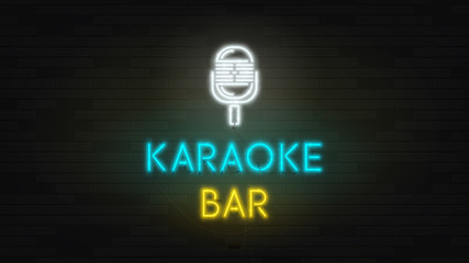 Dark Web banner with neon sign of karaoke bar. Modern neon color bilboard on brick wall. Concept of advertising for musical cafe with glowing text.