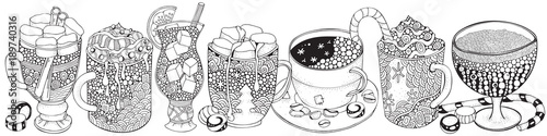 Set Of Glasses And Mugs With Drinks Adult Coloring Book Pages